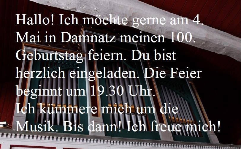 Orgel Einladung